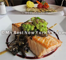 Delicious River Cafe Scottish salmon at River Cafe, Brooklyn, NYC